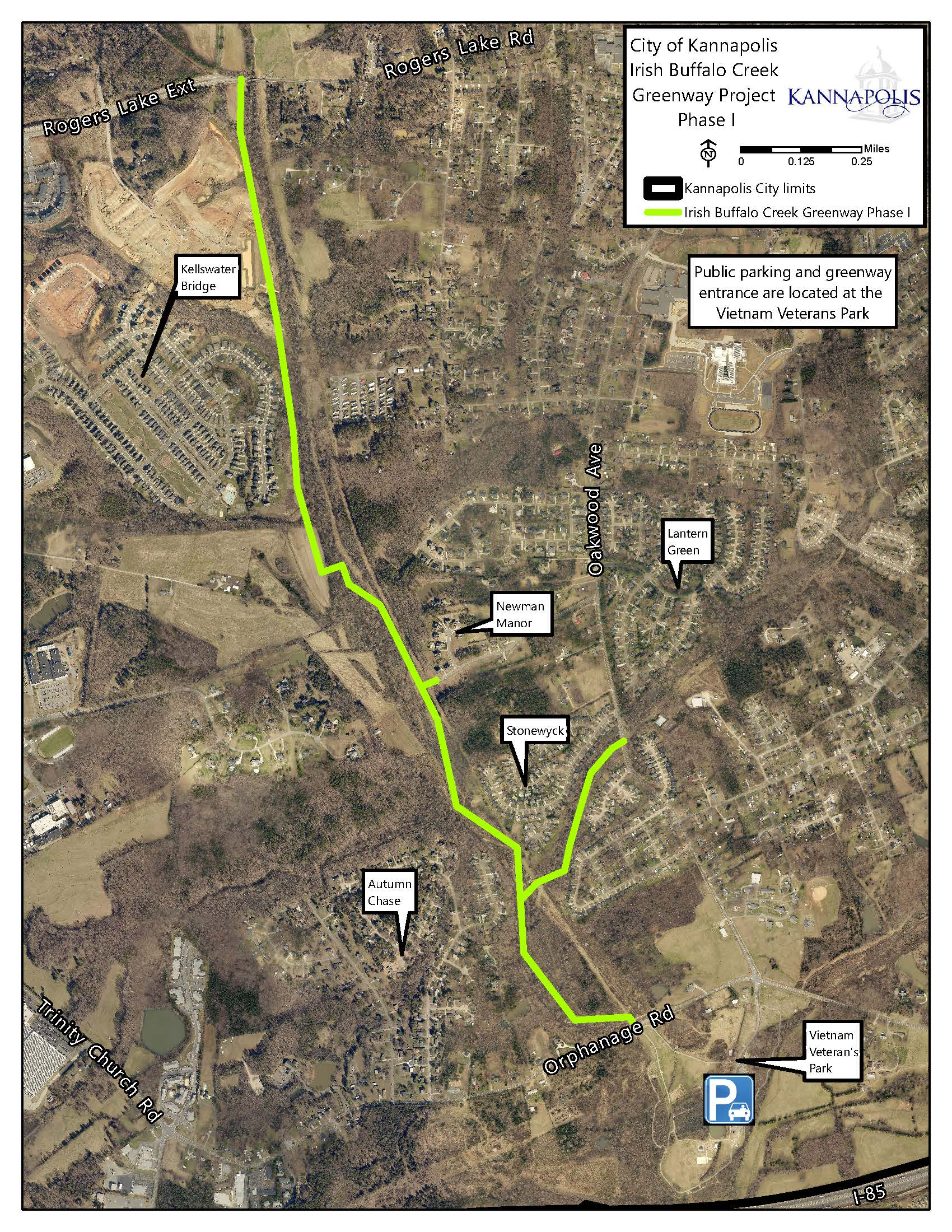 Irish Buffalo Creek Greenway Map - Phase 1