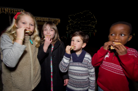 kids eating smores during the Celebration of Lights